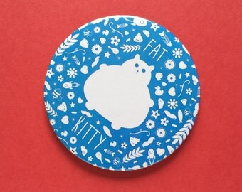 Cat Pocket Mirror, Cat Pocket Mirror, , large 3 inch pocket mirror, cat lover gift, Funny Fat Cat