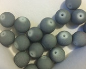 10mm Grey Rubberized Beads - Gray Acrylic Bracelet Beads Matte - 20 Beads