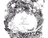 Hold for Zach and Melissa - Custom Illustrated Wedding Invitation Design