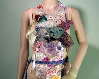 BOHEMIAN BODICE/APRON - Signature Accessory, Wearable Fiber Art, Richly Boho Tattered, Freeform Crocheted & Embroidered