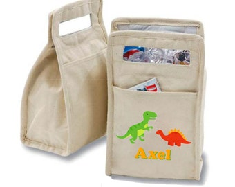 Personalized Dinosaurs Insulated Cotton Lunch Bag - Personalized with Any Name and You Choose the Font!