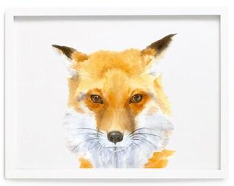 Fox Watercolor Print, Fox Print, Fox Wall Decor