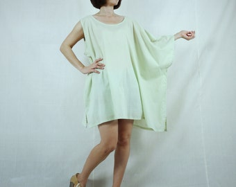 Sleeveless With One-Side Poncho Styling Wide Scoop Neck Asymmetrical Hem Azo Free Color Pale Green Light Cotton Blouse Tunic Top