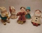 5 Vintage Japan Made Santa Figures Paper, Chenille, Spun Cotton and Christmas Wonderfulness