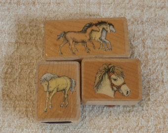 Small Horse Stamps, Lot of 3 Vintage Rubber Stampers with Horses