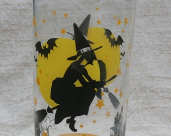 Halloween Glass Tumbler, Witch and Full Moon