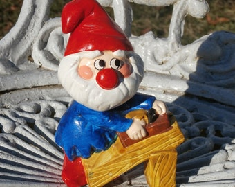 RB Japan Gnome or Santa Figurine, Red Cap Elf Working at Work Bench