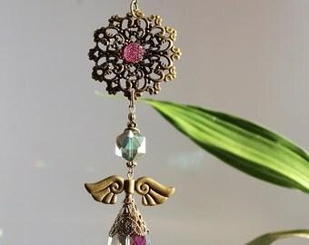 Sun catcher - light caster - Window ornament - House jewellery - Rainbow maker - Bronze lace filigree Crystal Prism by White Raven Designs