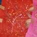 Jute Burlap Colored Shopping Tote Bags Hand Paint Splattered