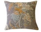 Gray Floral Throw Pillow Cover, Linen Pillows, Throw Pillows,  Floral Cushions, Modern Home Decor, Fall Home Decor, Gray Pillows