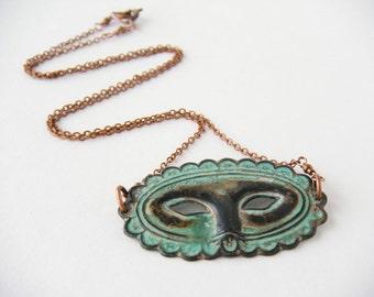 Mask Necklace, Theater Mask Necklace, Masquerade Necklace, Mardi Gras Necklace, Verdigris Mask - Venetian Patina Mask Necklace