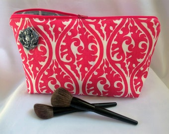 Large Flat Bottom Cosmetic Bag in Pink and White...The Adelaide Collection