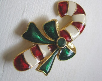 Enamel red white green Holiday candy cane brooch pin