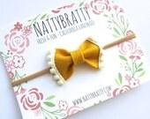 Felt Bow Headband - Pom Pom Trim Mini Bow - Baby Headband - Mustard Yellow and Ivory Cream - Headband or Hai Clip -Fall Fashion Kid Style