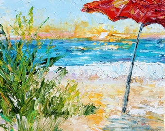 Original oil painting Some Beach Somewhere abstract impressionism fine art impasto on canvas by Karen Tarlton