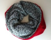 Cashmere cozy neckwarmer, tube scarf, reversible, one size, red, gray, animal, print, womens