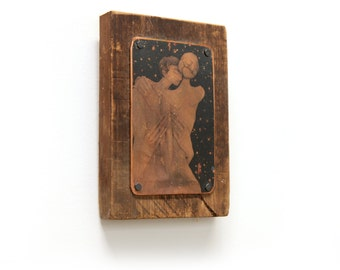 Rustic Wood Copper Mixed Media Assemblage Image Transfer Embracing Couple Night Sky