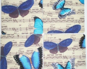 Music and butterfly coaster set of 4