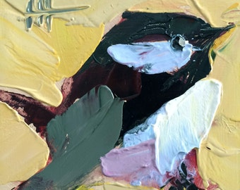 Chickadee no. 857 Original Bird Oil Painting by Angela Moulton 4 x 4 inch on Birch Plywood Panel