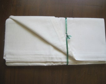 Plain unused French linen metis sheet - bedding fabric, perfect for upholstery, curtains, blinds, tablecloth.