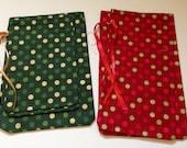 CHRISTMAS CLEARANCE - Reusable Cloth Christmas Bags - Set of 5 Smalls