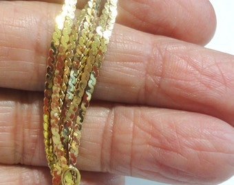 """Gold Chain 14k Gold Chain Polished S Link 36"""" Gold Chain Vintage Solid 14k Gold Chain 1.5mm Wide Italian 7.2 Grams Belly Chain"""