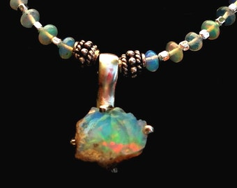 Opal Necklace Raw Rough Natural Opal Nugget Pendant with Real Opal Rondelles and Opalite Bead Necklace in Sterling