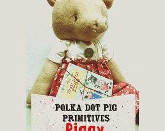 Piggy PDF Primitive Digital Folk Art Doll Pattern