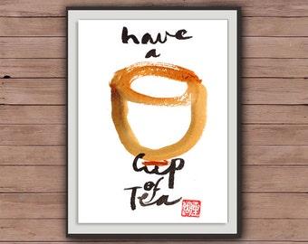 "Enso, Zen Art Calligraphy ""Have a Cup of Tea"" Sumi-e Ink Painting, Zen illustration, zen decor, japanese tea ceremony, buddhist art, tao"