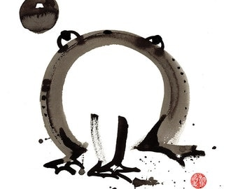 Frog and enso, Zen Painting Basho's Old Pond Frog with Moon, original sumi e ink painting, japanese scroll, childs room art, zen decor haiku