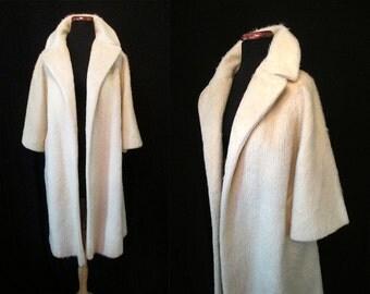 "Delightful ""Lilli Ann Paris"" 1950's Designer Winter White Swing Coat with Satin Lining Rockabilly VLV Pinup Girl Chic Size-Small-Medium"