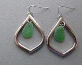 Green Earrings, Genuine Sea Glass Earrings, Sea Glass Jewelry, Beach Glass Earrings