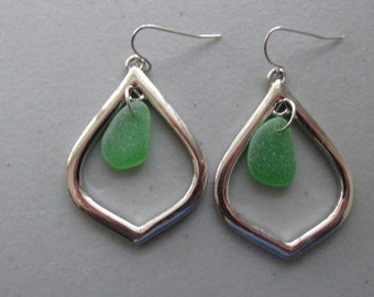 Green Genuine Sea Glass Earrings, Sea Glass Jewelry, Beach Glass Earrings