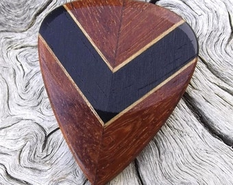 Multi-Wood Guitar Pick - Premium Quality - Handmade - Actual Pick Shown - Laminated Chevron Pattern - Artisan Guitar Pick