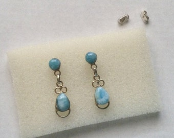 ON SALE Larimar Jewelry Dangle earrings Larimar earrings drop Fashion jewelry gift for her under 30