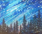 ORIGINAL FINE ART Tahoe Mountain Stars, Starry mountain night, Deep Blue, celestial, Galaxy watercolor painting, bedroom decor, wall art