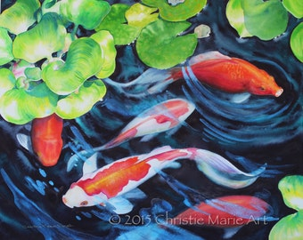 ORIGINAL WATERCOLOR Painting Koi Fish Pond Art, Nature Art, Art investment, Gallery fine art by Artist Christie Marie E. Russell