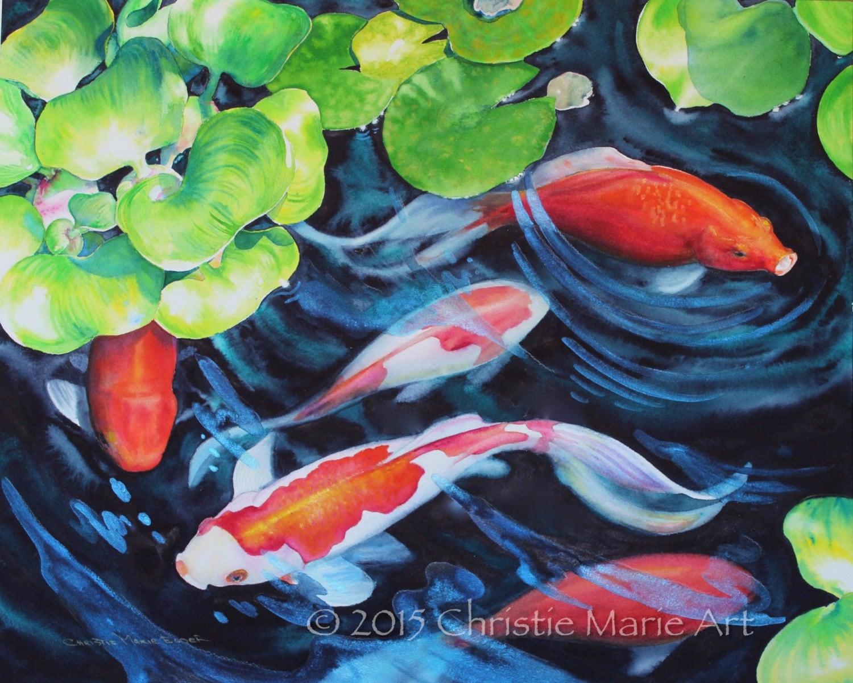 Original watercolor painting koi fish pond art garden art for Koi fish pond art
