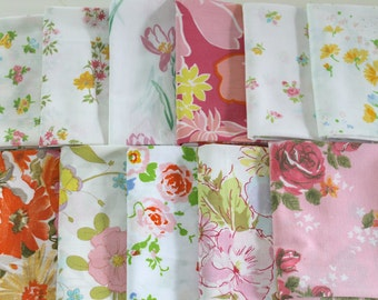 Vintage Reclaimed Fabric Fat Quarter Bundle 11 retro Shabby Chic Floral vintage reclaimed bed sheet bed linen shabby rose quilting fabric