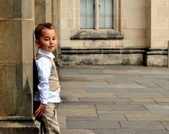 boys linen pants - pure linen French beige wide leg pants - Ready to Ship