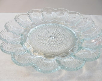 Vintage Pressed Glass Deviled Egg Tray - Relish Dish - Plate - Serving Piece - Indiana Glass - Hobnail - Sunflower
