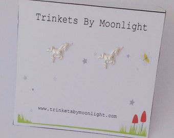 Unicorn Earrings, Sterling Silver Studs, Perfect Gift for a Little Girl, School Friend's Birthday Present, Fun Jewellery, Everyday Studs
