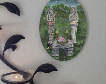 May Eve, Beltane, The Hidden Path Oval Tile Wall Hanging by Mickie Mueller