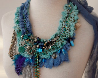 cotton beaded necklace, boho beaded turquoise dusty blue textile necklace, beaded bib necklace