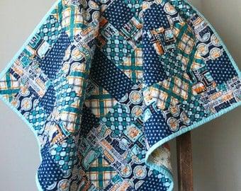 Volkswagen Baby Quilt, Modern Baby Boy Quilt, VW Baby, VW Bus, Boy Quilt, Blue and Orange, Nursery Bedding, Hipster, Handmade Quilt