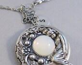 Goddess Moon,Moonstone,Moonstone Locket,Locket,Antique Locket,GoddessSilver Locket,Sparrow,Bird Locket,Initial,Hand Stamp,Personalized,Blue,