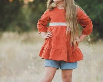 Easy Girls Sewing pattern, Boho Pattern, Boatneck style pattern, Hazel top, tunic, and dress sewing pattern, Tiered Boho Style Pattern