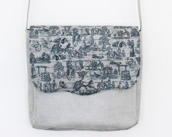 Grey Suede and cotton print messenger bag