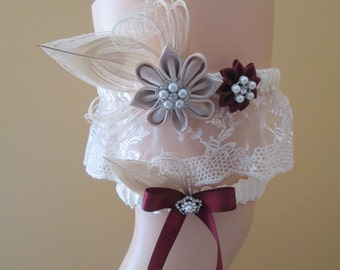Champagne & Marsala Wedding Garter Set, Peacock Garters, Ivory Lace Garter w/ Cranberry - Wine Red Flower, Rustic Bridal Garter
