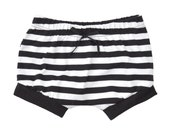 Shorties | Black Stripes and Black | Sizes 3 Months to 5T | boy shorts, girl shorts, summer shorts, unisex shorts